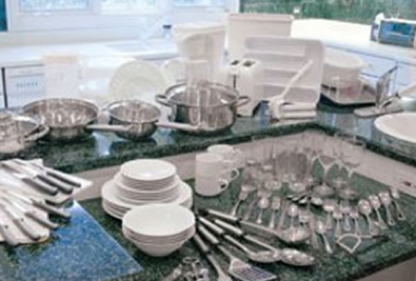 housewares with plates, silverware, and cups