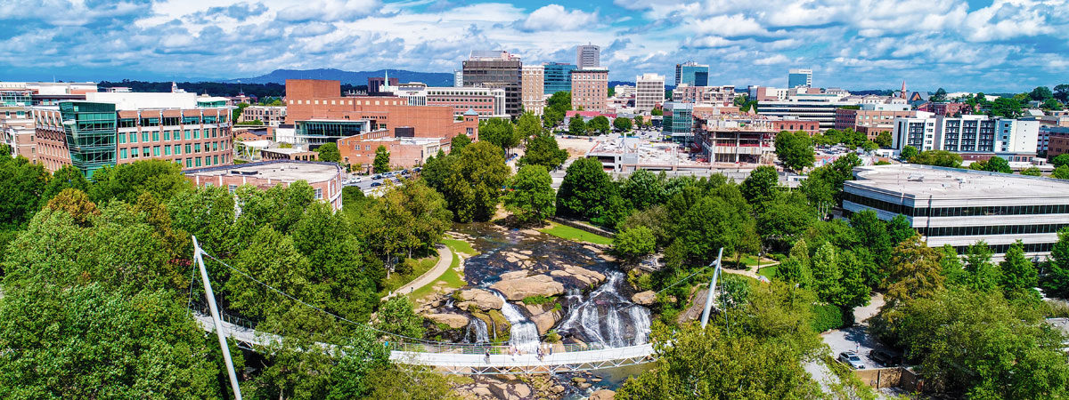 Aireal view of downtown Greenville, SC