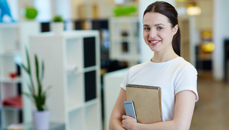 female intern in an office setting